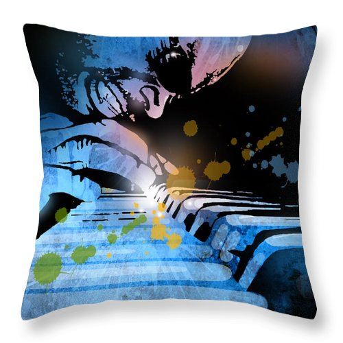 Blues Throw Pillow featuring the painting Earl R Johnson by Paul Sachtleben