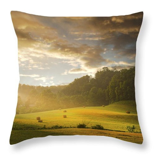Early Am Fog Throw Pillow featuring the photograph Early Am Fog And Stormey Light by Randall Branham
