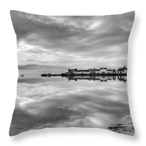 Argyll And Bute Throw Pillow featuring the photograph Early Morning At Inverary Black And White Version by Gary Eason
