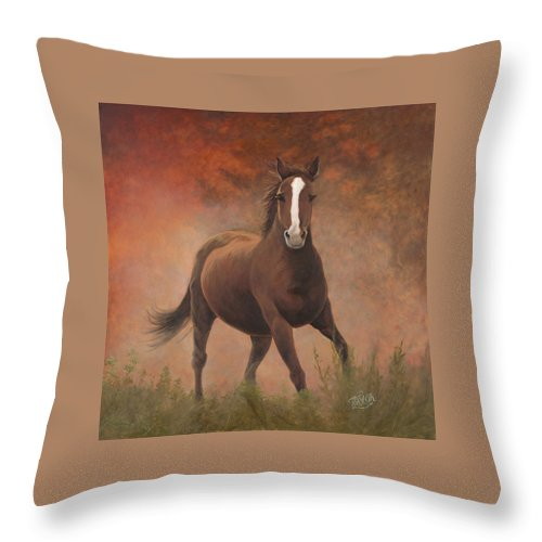 Horse Running At Sunrise Throw Pillow featuring the painting Early Morning Light by Tammy Taylor