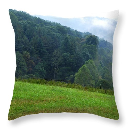 Autumn Morning Throw Pillow featuring the photograph Early Morning Rising Mist by Thomas R Fletcher