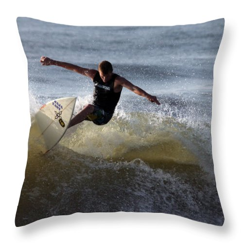 Ocean Throw Pillow featuring the photograph Early Morning Surfing by Mary Haber