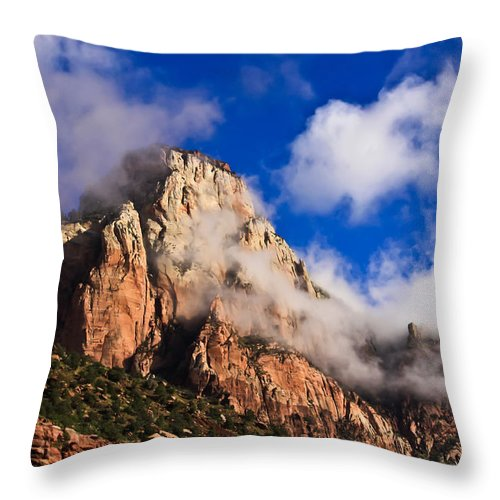 Zion National Park Throw Pillow featuring the photograph Early Morning Zion National Park by Tom and Pat Cory