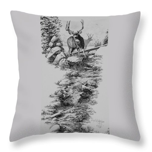 Deer Art Throw Pillow featuring the drawing Early October by Virgil Stephens