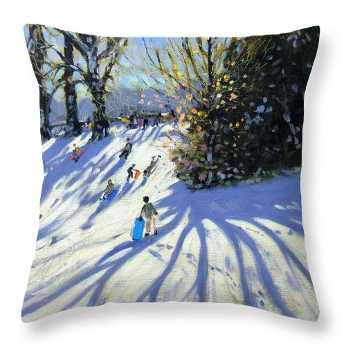 Sledge Throw Pillow featuring the painting Early Snow Darley Park by Andrew Macara