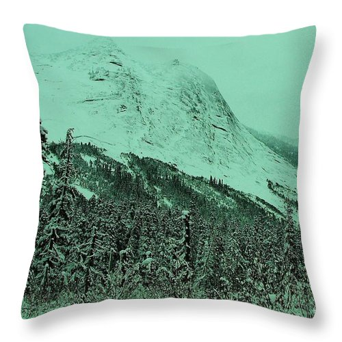 Mountains Throw Pillow featuring the photograph Early Snow In The Mountains by Jeff Swan