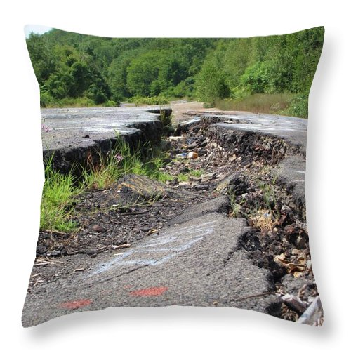 Centralia Pa Throw Pillow featuring the photograph Earth Opening Road Closing by Michele Nelson