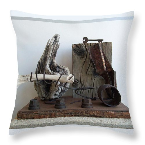Sculpture Throw Pillow featuring the sculpture Earth Radio by Snake Jagger
