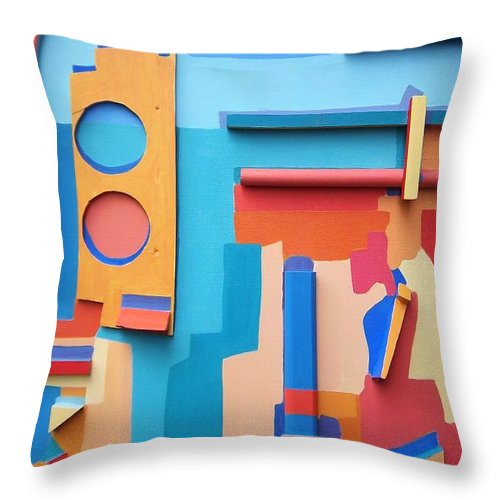 Abstract Throw Pillow featuring the mixed media East End Summer by Debra Bretton Robinson