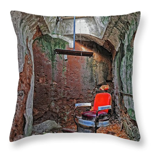 Eastern State Penitentiary Throw Pillow featuring the photograph Eastern State Penitentiary Barber Shop by Dave Mills
