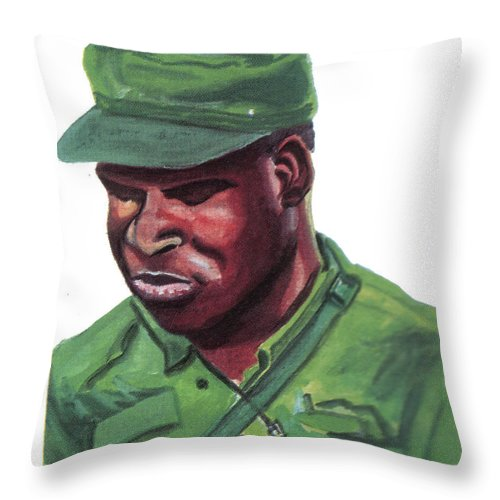 Portraits Throw Pillow featuring the painting Eduardo Mondlane by Emmanuel Baliyanga