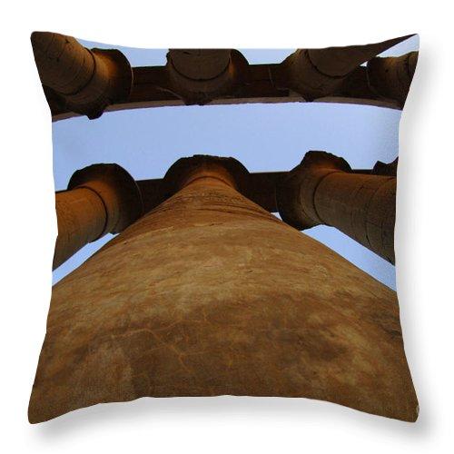 Egypt Throw Pillow featuring the photograph Egypt Luxor Pillars by Bob Christopher