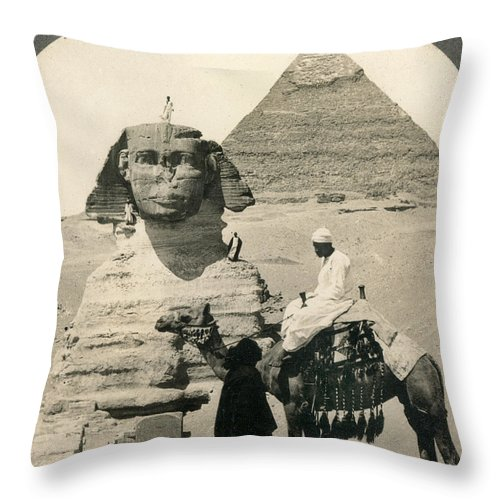 1905 Throw Pillow featuring the photograph Egypt: Pyramids, 1905 by Granger
