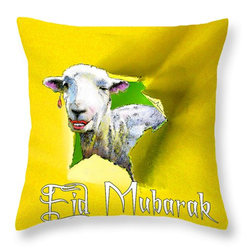 Animals Throw Pillow featuring the painting Eid Mubarak by Miki De Goodaboom