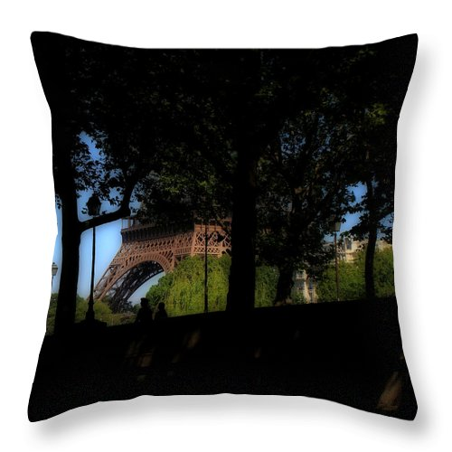 Eiffel Throw Pillow featuring the photograph Eiffel Tower Shadows by Andrew Fare