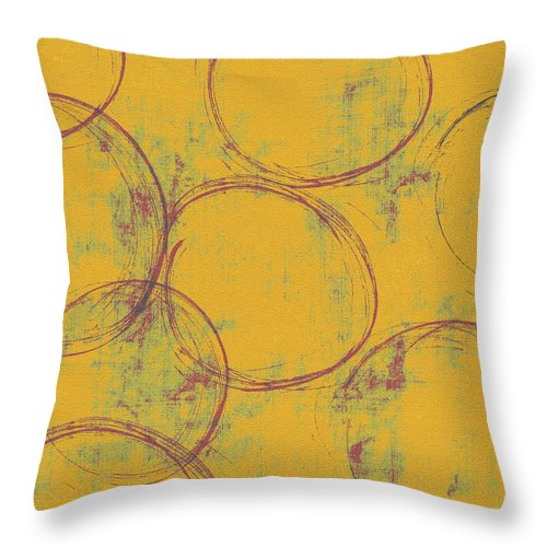 Circle Throw Pillow featuring the painting Eight Ensos by Julie Niemela