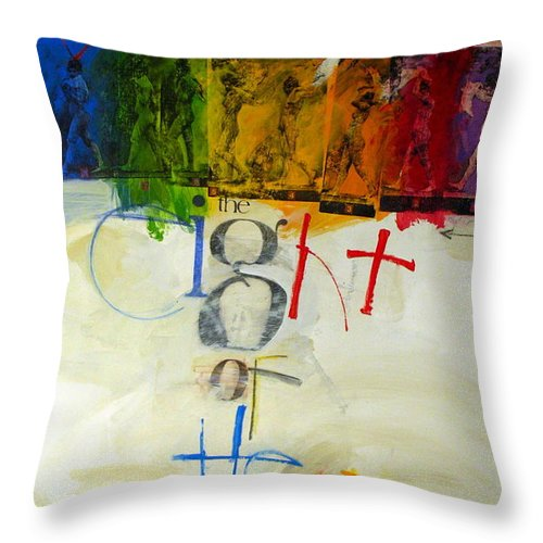 Acrylic Throw Pillow featuring the painting Eight Of Hearts 34-52 by Cliff Spohn