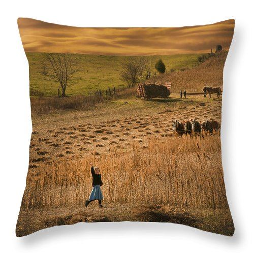 This Combine And The Thrashing Machine In The Rear Date Back To The Late 1800's.mccormick Changed Farming Forever With His Inventions. Throw Pillow featuring the photograph eighteen hundred thrashing Machine by Randall Branham