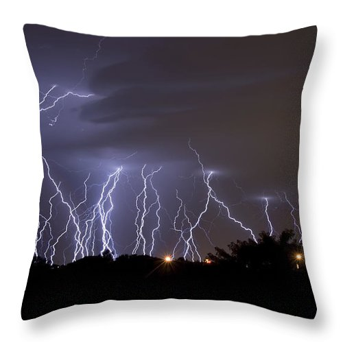 Atmosphere Throw Pillow featuring the photograph Electric Avenue by Ricky Barnard