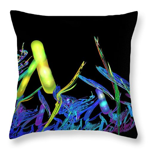Fractal Throw Pillow featuring the digital art Electric Fractal Garden by Carolyn Marshall