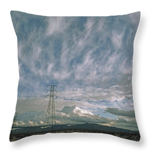 Cirrus Throw Pillow featuring the photograph Electric Transmission Lines by Gordon Wiltsie