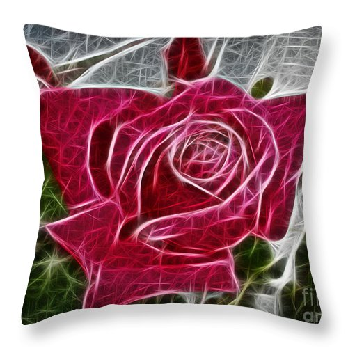 Electrostatic Rose Throw Pillow featuring the digital art Electrostatic Rose by Barbara Griffin