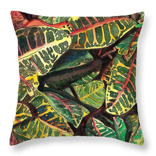 Croton Throw Pillow featuring the painting Elena's Crotons by Marionette Taboniar