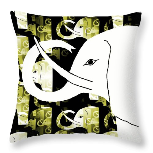 Elephant Throw Pillow featuring the digital art Elephant by Barbara Moignard