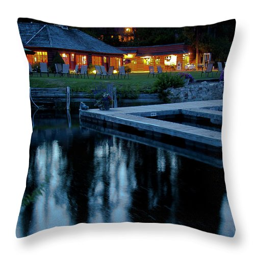 Restaurant Throw Pillow featuring the photograph Elkins At Night by David Patterson