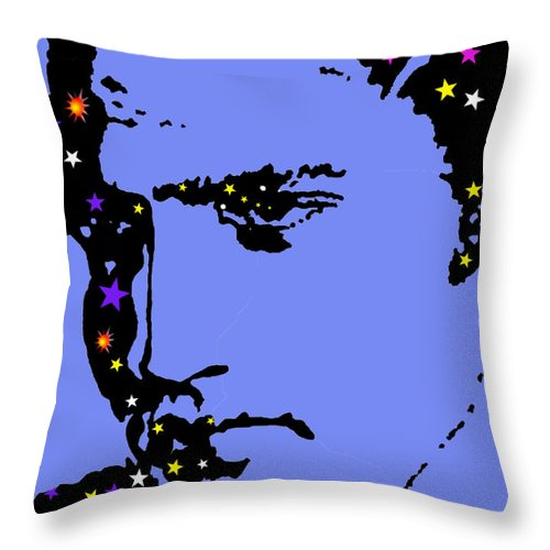 Elvis Throw Pillow featuring the drawing Elvis Feeling Blue by Robert Margetts