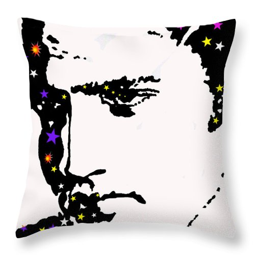 Elvis Throw Pillow featuring the drawing Elvis Living With The Stars by Robert Margetts