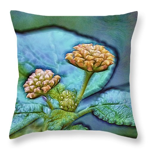 Leafs Throw Pillow featuring the photograph Emerald Stamped Floret by Bill Tiepelman