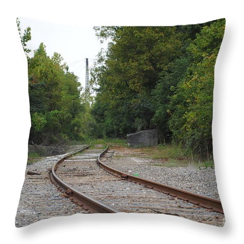 Rail Throw Pillow featuring the photograph End Of The Rail by Jost Houk