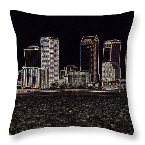 City Throw Pillow featuring the photograph Energized Tampa - Digital Art by Carol Groenen