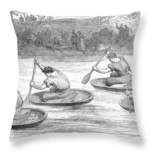 1881 Throw Pillow featuring the photograph England: Coracle Race, 1881 by Granger