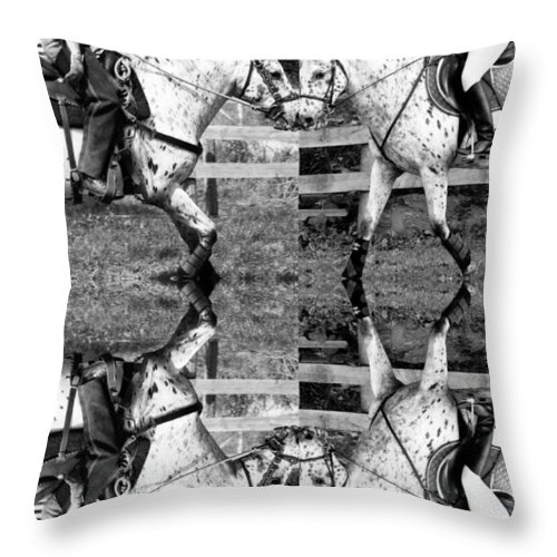 Equine Throw Pillow featuring the digital art English And Western Collide by Betsy Knapp