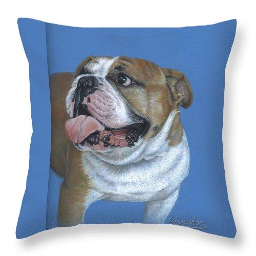 Dog Throw Pillow featuring the pastel English Bulldog by Nicole Zeug