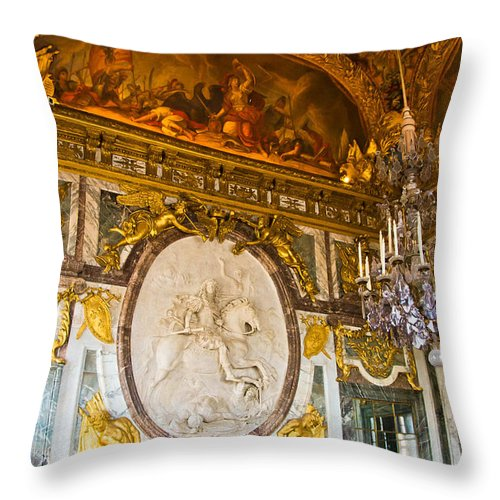 Palace Of Versailles Paris France Throw Pillow featuring the photograph Entryway To The Hall Of Mirrors by Jon Berghoff