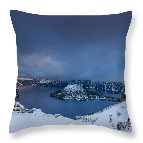 Cascades Throw Pillow featuring the photograph Enveloping Storm At Crater Lake by Greg Nyquist