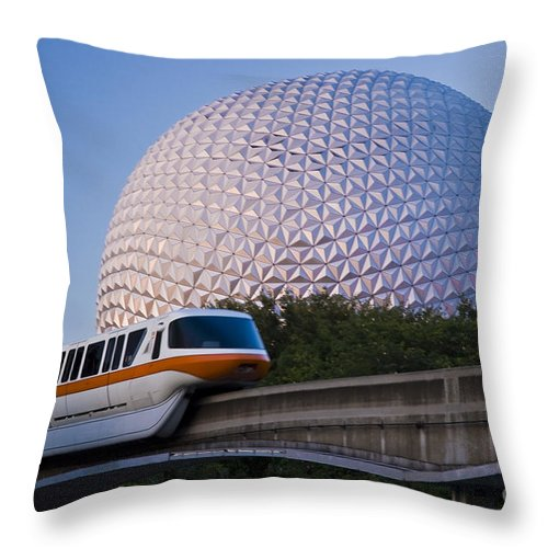 Disney World Throw Pillow featuring the photograph Epcot And Monorail by Tim Mulina