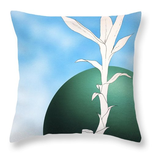 Bamboo Throw Pillow featuring the painting Essence Blue by Carlos De Las Heras