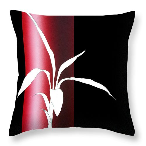 Bamboo Throw Pillow featuring the painting Essence Red by Carlos De Las Heras