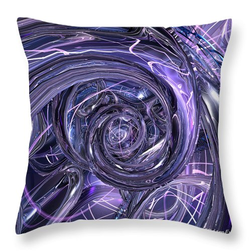 Abstract Throw Pillow featuring the digital art Eternal Depth Of Abstract And Chrome Fx by G Adam Orosco