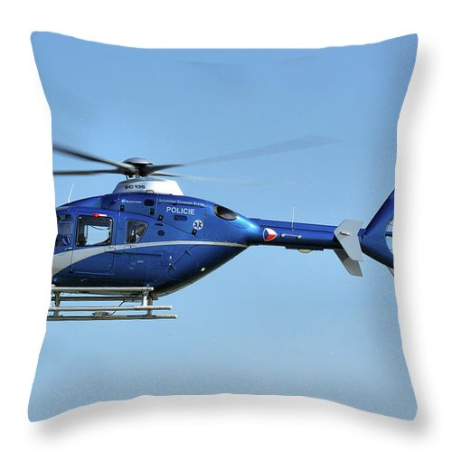 Eurocopter Ec135 Ok-bye Czech Republic Police Nato Air Days Ostrava September 2011 Helicopter Aircraft Airplane Aeroplane Throw Pillow featuring the photograph Eurocopter Ec135 by Tim Beach