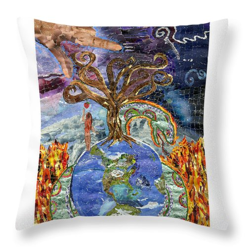 God Throw Pillow featuring the mixed media Eve-olution Of Sin by Brenda Brolly