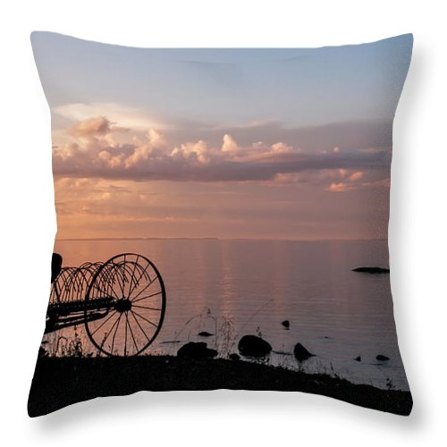 Nature Throw Pillow featuring the photograph Evening Bell. Sunset On Valaam Island. Northern Russia by Jenny Rainbow