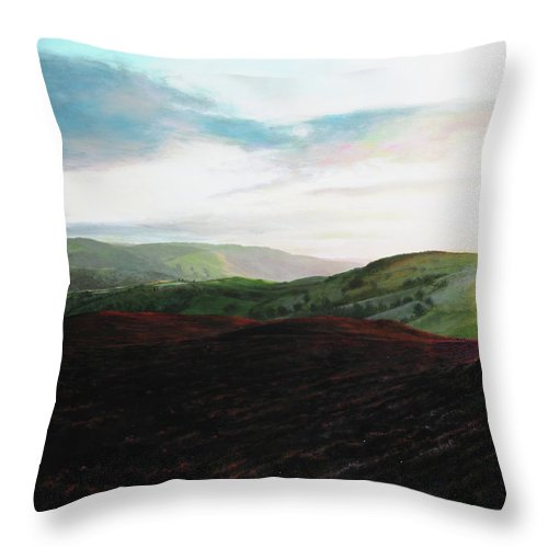 Landscape Throw Pillow featuring the painting Evening Landscape Towards Llangollen by Harry Robertson
