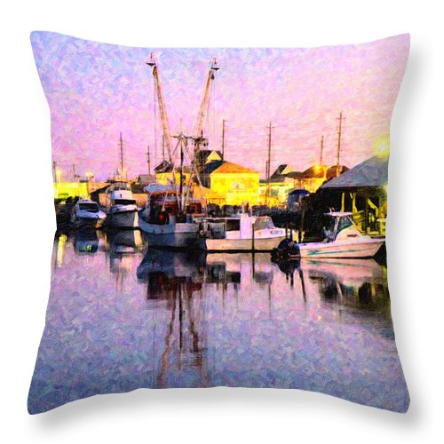 Topsail Throw Pillow featuring the digital art Evening Peace by Betsy Knapp
