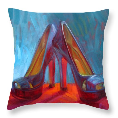 Shoe Paintings Paintings Throw Pillow featuring the painting Ever Eloquent by Penelope Moore