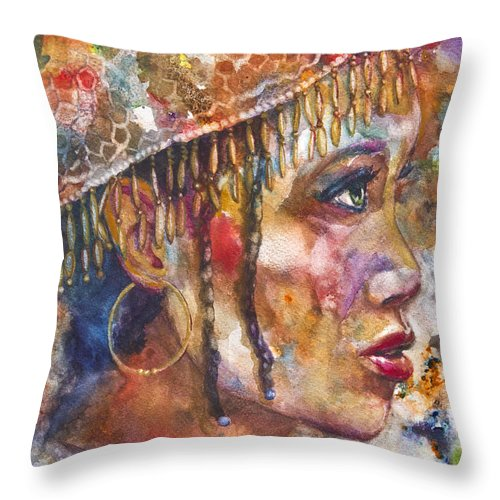 Painting Throw Pillow featuring the mixed media Evie by Patricia Allingham Carlson